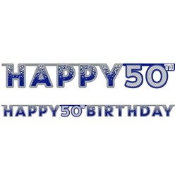 Blue 50th Birthday Letter Banner