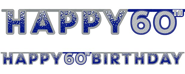 Blue 60th Birthday Letter Banner