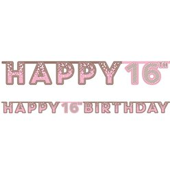 Pink 16th Birthday Letter Banner
