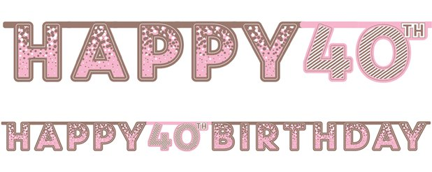 Pink 40th Birthday Letter Banner