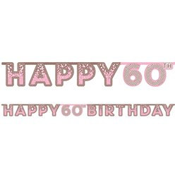 Pink 60th Birthday Letter Banner