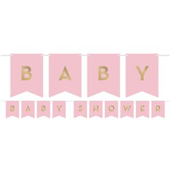 Pink & Gold Customisable Ribbon Banner with Stickers - 1.7m
