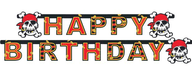 Jolly Roger Pirate Birthday Banner - 1.8m
