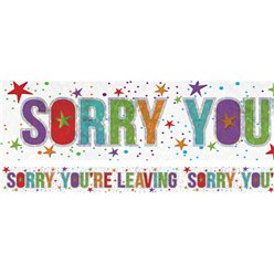Holographic Sorry You Are Leaving Foil Banner - 2.7m