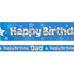 Happy Birthday Dad Blue Foil Banner - 2.7m