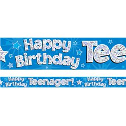 Happy Birthday Teenager Blue Foil Banner - 2.7m