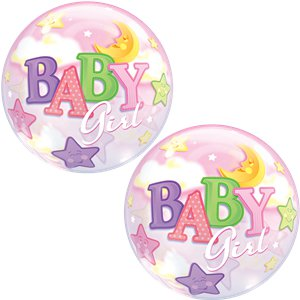 Baby Girl Moon & Stars Bubble Balloon - 22