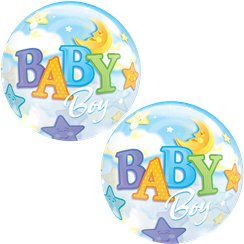 Baby Boy Moon & Stars Bubble Balloon - 22""