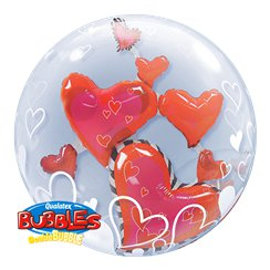 Floating Hearts Valentines Double Bubble Balloon - 24""
