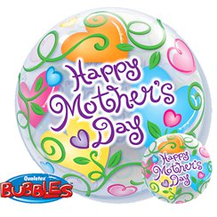 Mother's Day Curly Hearts Bubble Balloon - 22""