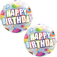 Birthday Colourful Cupcakes Bubble Balloon - 22""