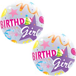 Birthday Girl Hat Bubble Balloon - 22""