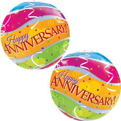 Anniversary Colourful Bands Bubble Balloon - 22
