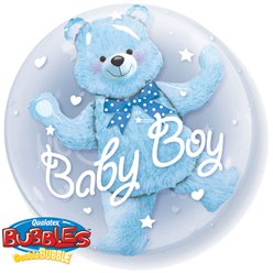 Baby Boy Blue Bear Double Bubble Balloon - 24