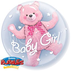 Baby Girl Pink Bear Double Bubble Balloon - 24""
