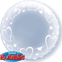 Valentines Heart Design Clear Bubble Balloon - 24