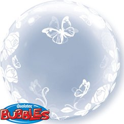 Roses & Butterflies Clear Bubble Balloon - 24""