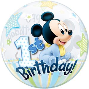 Mickey Mouse 1st Birthday Bubble Balloon - 22