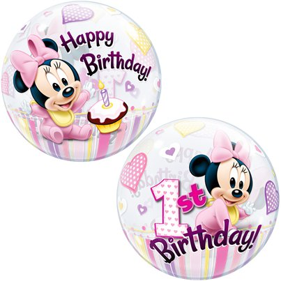 Minnie Mouse 1st Birthday Bubble Balloon - 22""