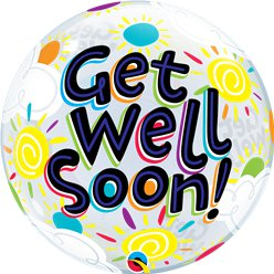 Get Well Soon Bubble Balloon - 22""