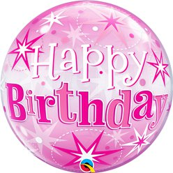'Happy Birthday' Pink Sparkle Bubble Balloon - 22""