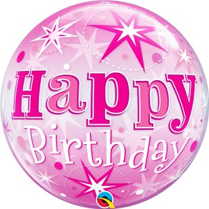 'Happy Birthday' Pink Sparkle Bubble Balloon - 22