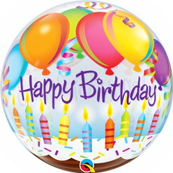 Happy Birthday Balloons & Candles Bubble Balloon - 22""