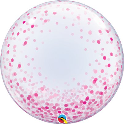 Pink Confetti Printed Bubble Balloon - 24