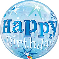'Happy Birthday' Blue Sparkle Bubble Balloon - 22""