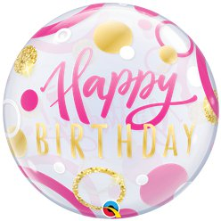 Birthday Pink & Gold Dots Bubble Balloon - 22