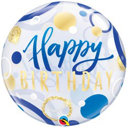 Birthday Blue & Gold Dots Bubble Balloon - 22