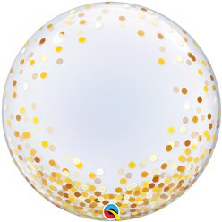 Gold Confetti Dots Printed Bubble Balloon - 24""