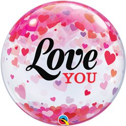 Love You Confetti Hearts Bubble Balloon - 22""
