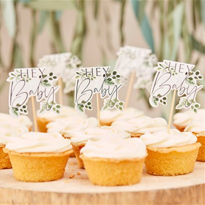Botanical Baby Cupcake Toppers