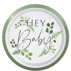 Botanical Baby Paper Party Plates - 24cm