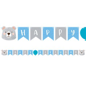 Birthday Bear Ribbon Banner with 1st Birthday Stickers -  1.9m