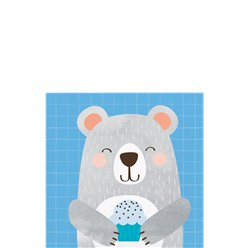 Birthday Bear Beverage Napkins - 25cm