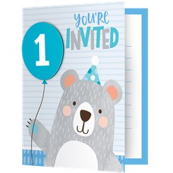 Birthday Bear 1st Birthday Foldover Invitations with Attachments