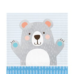 Birthday Bear Lunch Napkins - 33cm