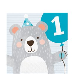 Birthday Bear 1st Birthday Lunch Napkins - 33cm