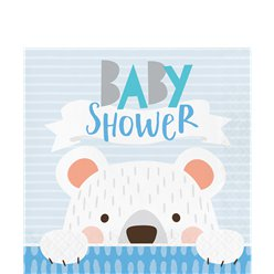 Birthday Bear Baby Shower Lunch Napkins - 33cm