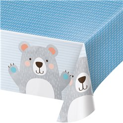 Birthday Bear Plastic Tablecover - 1.9cm