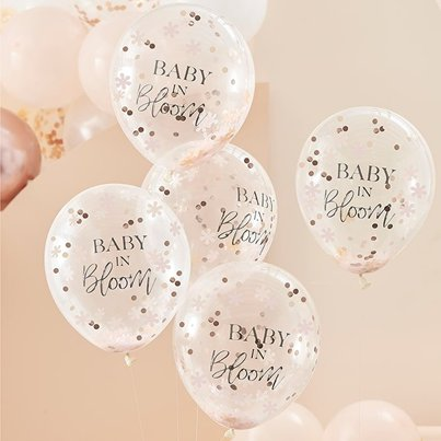 "Baby In Bloom Flower Confetti Balloons - 12"" Latex"
