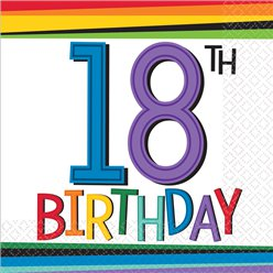 Birthday Bright 18th Birthday Beverage Napkins - 25cm