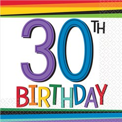 Birthday Brights 30th Birthday Beverage Napkins - 25cm