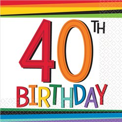 Birthday Brights 40th Birthday Beverage Napkins - 25cm