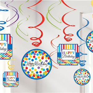 Birthday Bright Hanging Swirls