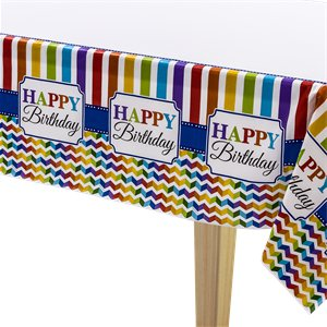 Birthday Bright Tablecover - Plastic Party Cover