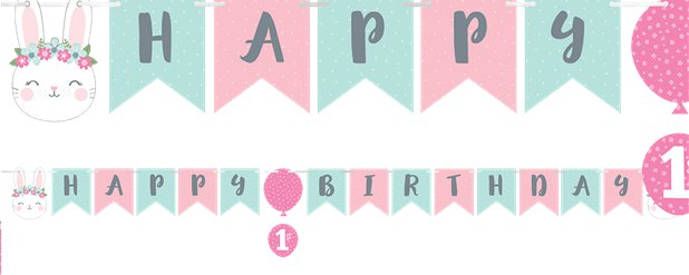 Birthday Bunny Ribbon Banner with Sticker Attachments