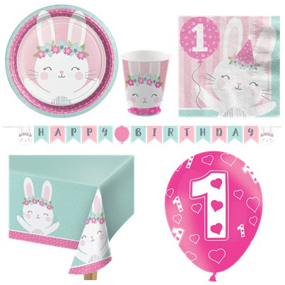 Birthday Bunny Party Pack - Deluxe Kit for 8